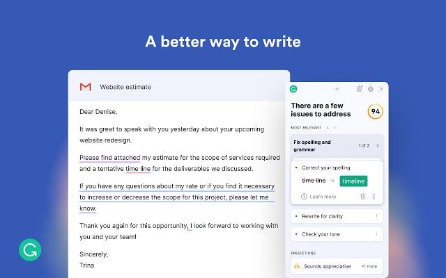 Tangkapan layar untuk ekstensi Grammarly.