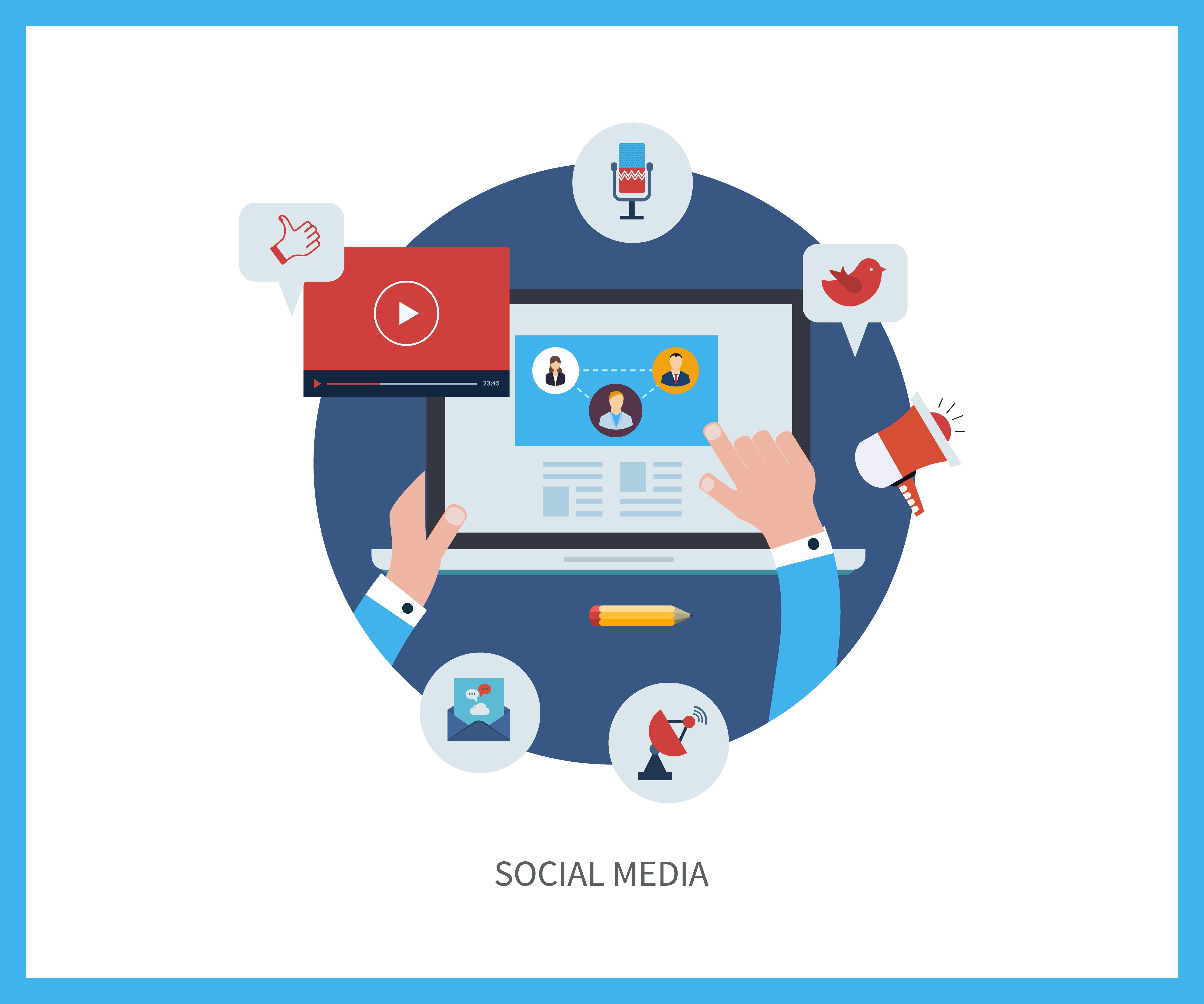 ikon media sosial yang menunjukkan situs web ramah media sosial.