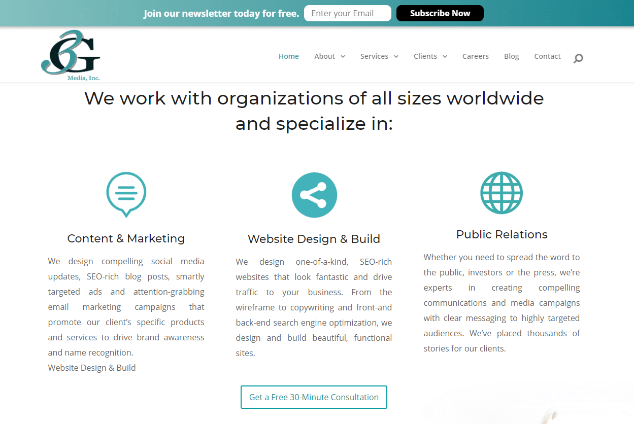 Contoh situs web tentang penggunaan ruang putih yang baik.