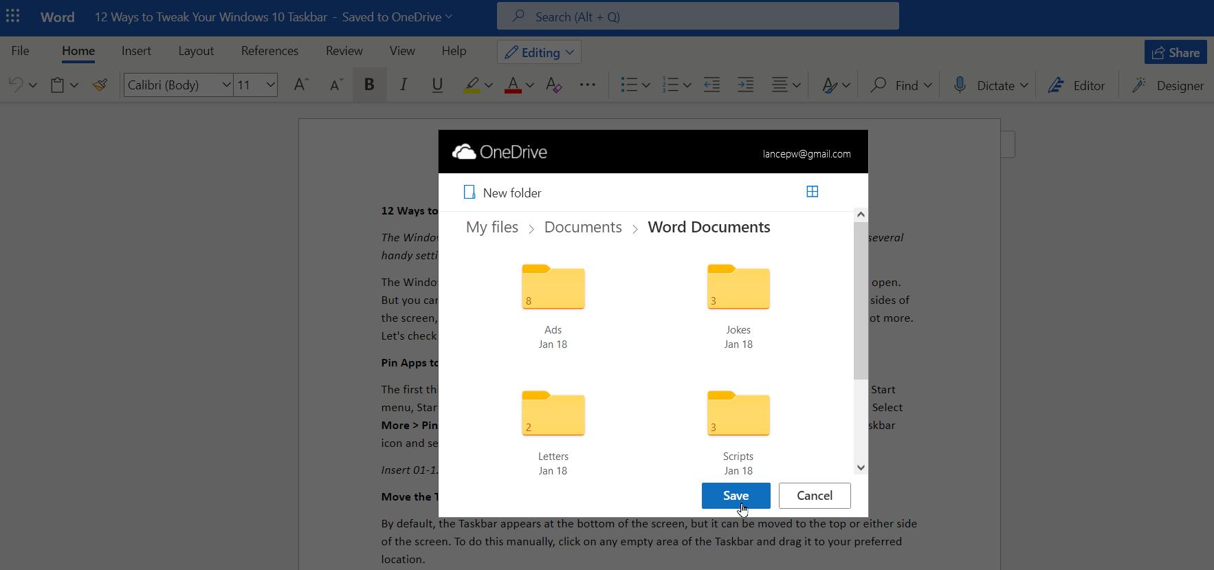 folder onedrive