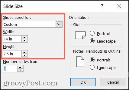 Masukkan ukuran slide khusus di PowerPoint