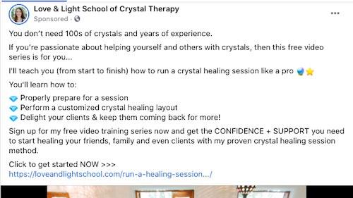Tangkapan layar iklan terapi kristal di Facebook