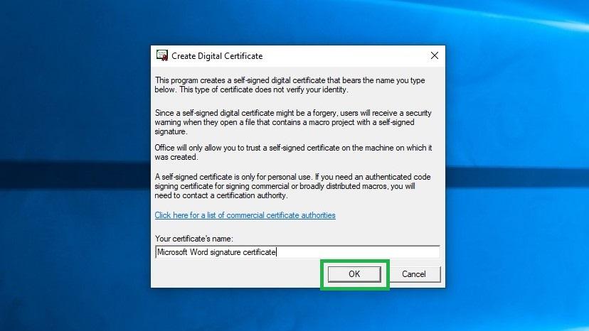Cara menandatangani dokumen Word langkah 3: Ketik nama sertifikat