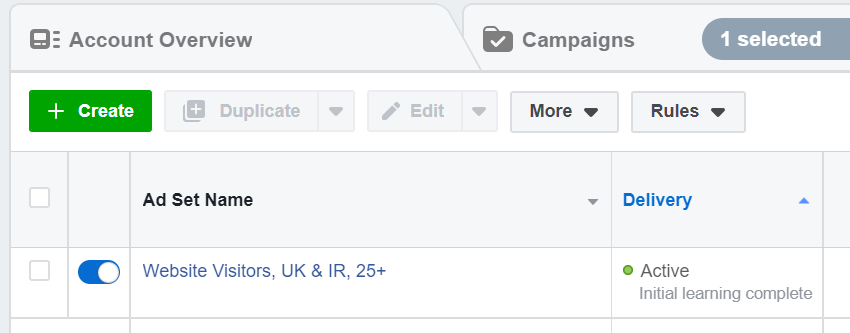 Fase pembelajaran iklan Facebook selesai
