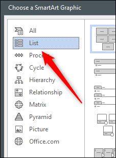 Opsi daftar di jendela grafik SmartArt