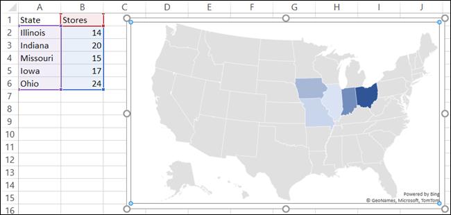 Bagan Peta dengan Data di Excel