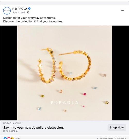 Tangkapan layar iklan PD Paola di Facebook