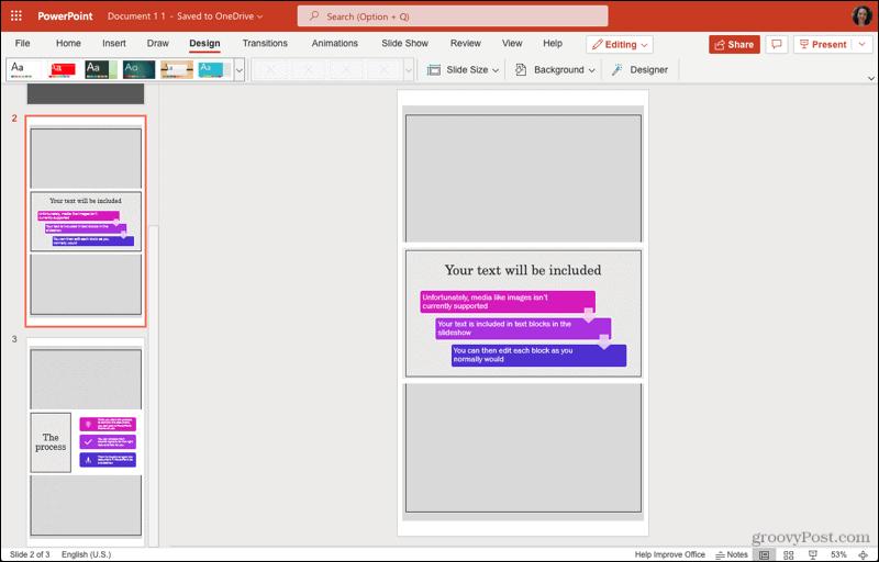 Orientasi Slide Potret dalam PowerPoint di web