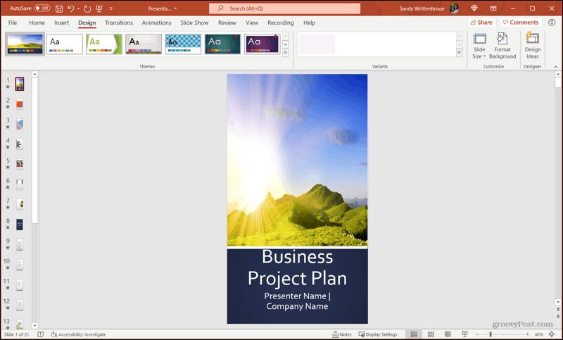 Orientasi Slide Potret di PowerPoint di Windows