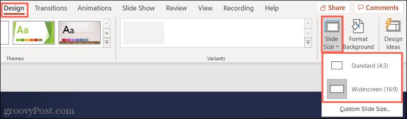 Klik Standar atau Layar Lebar untuk Ukuran Slide PowerPoint Anda