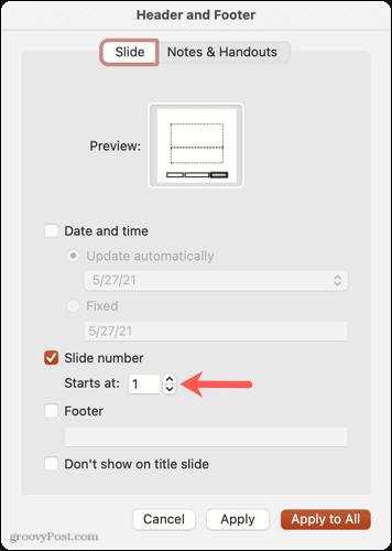 Memulai nomor slide di PowerPoint di Mac