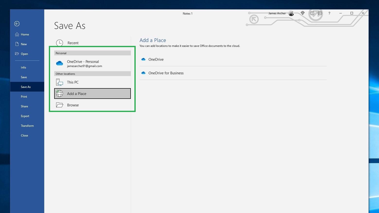 Cara menyimpan dokumen Word sebagai PDF langkah 4: Untuk mengubah folder penyimpanan, pilih opsi Lokasi Lain