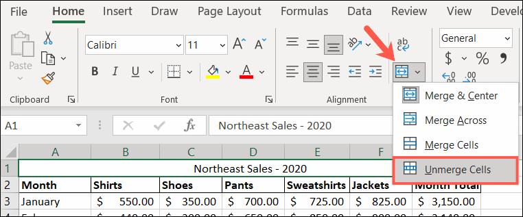 Pisahkan sel di Excel