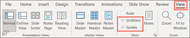Lihat tab, Garis Kisi, dan Panduan di PowerPoint