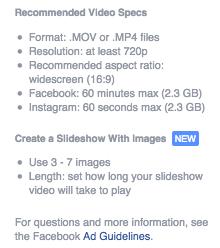 spesifikasi yang direkomendasikan iklan video facebook