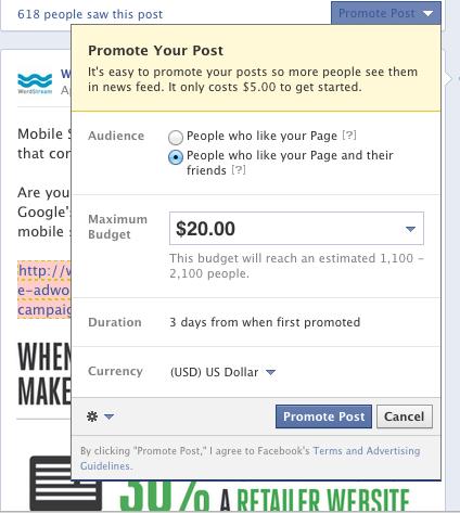 Postingan Facebook yang Dipromosikan