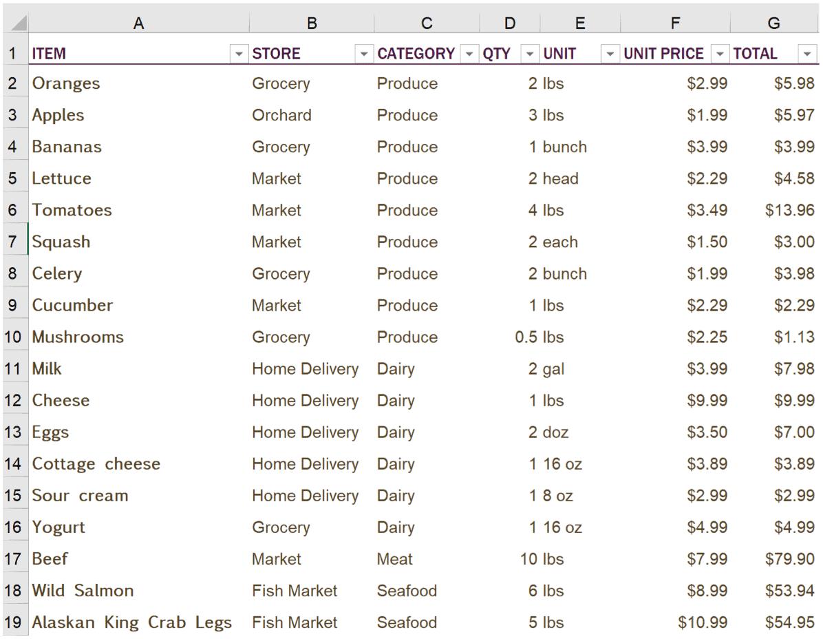 Contoh Excel