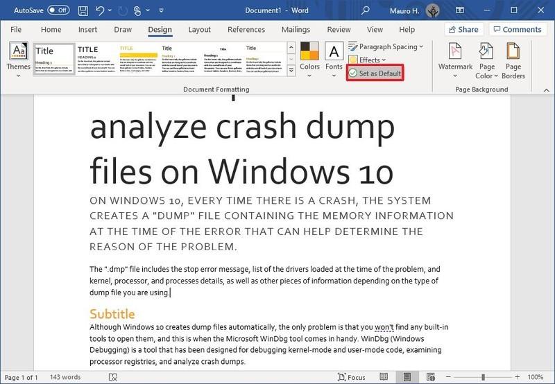 Microsoft Word mengatur tema sebagai default