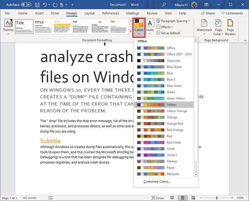 Warna Tema Microsoft Word