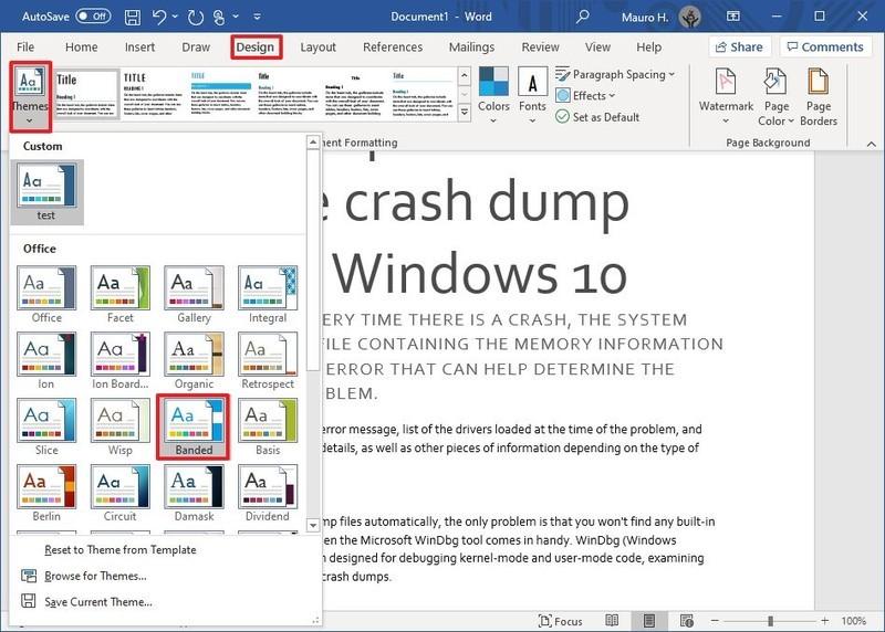 Opsi Tema Microsoft Word